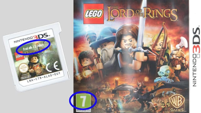 Videogame Lego Lord of the Rings mit verschiedenen Altersangaben.