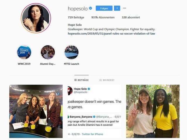 Das Instagram-Profil von Hope Solo.