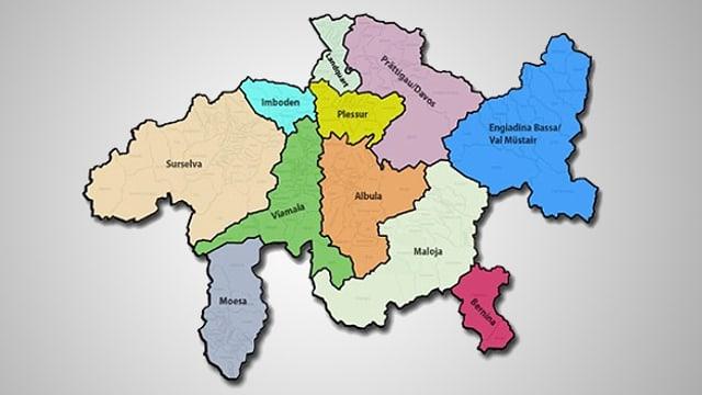 Karte Kanton Graubünden mit eingefärbten Regionen