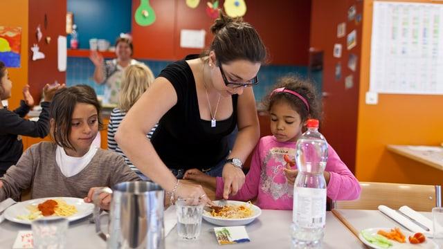Symbolbild: Kinder mit Betreuerin an einem Mittagstisch.