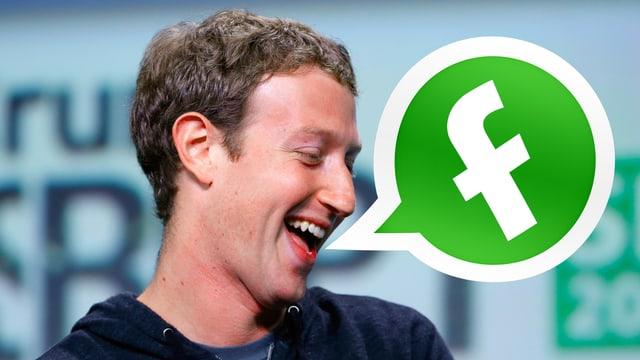 Fotomontage mit einer Profilaufnahme des Facebook-Gründers Mark Zuckerberg und einer Sprechblase, die das veränderte Logo der Chat-Applikation Whatsapp zeigt, in dem das Facebook-Logo bekannte kleine «f» den Whatsapp-Telefonhörer ersetzt.