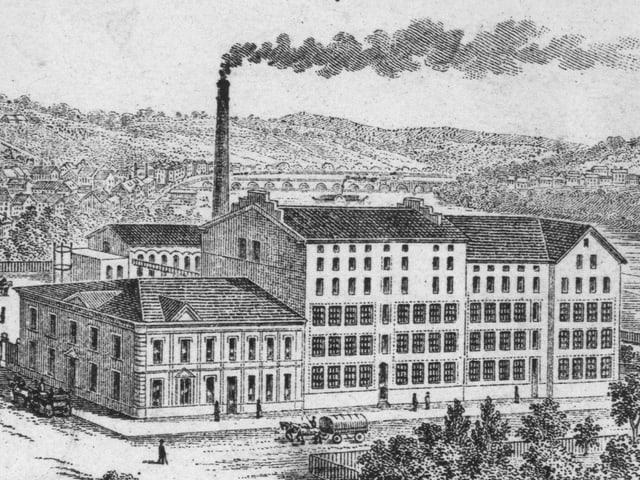 Das Firmengelände der Kammwollspinnerei im Jahr 1903.