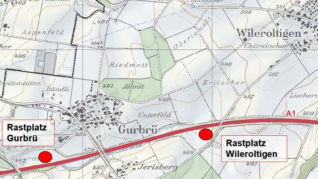 Karte von Wileroltigen/Gurbrü