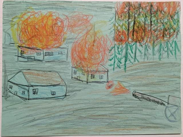 eine Kinderzeichnung eines brennenden Hauses