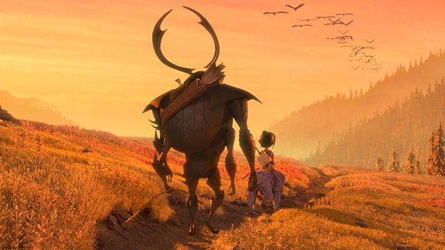 Kubo, Monkey und Beatle laufen in den Sonnenuntergang.