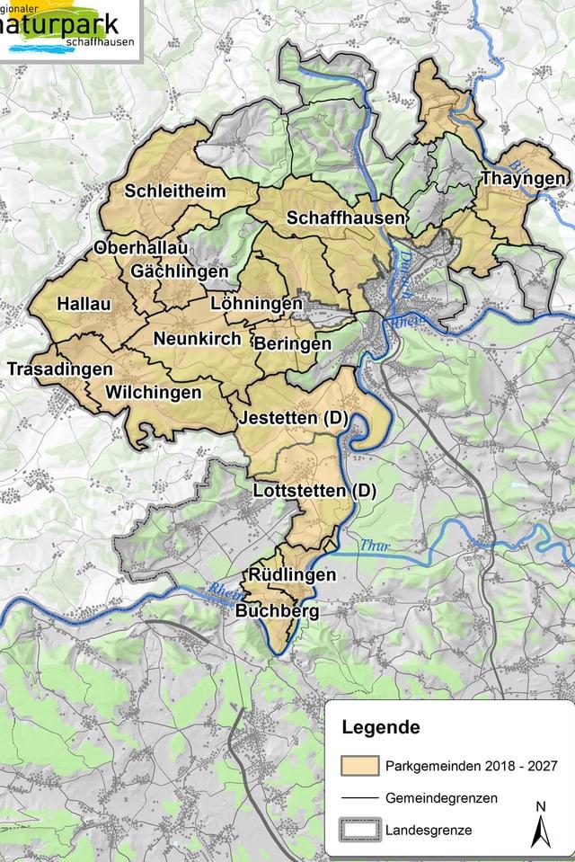 Karte der Gemeinden, die Teil des Naturparks sind.