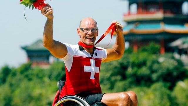 Für Heinz Frei der grösste Erfolg seiner langen Karriere: Zwei Goldmedaillen an den Paralympics in Peking 2008.