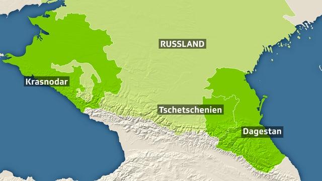 Karte mit Kaukasus von Krasnodar, Tschetschenien, Dagestan.