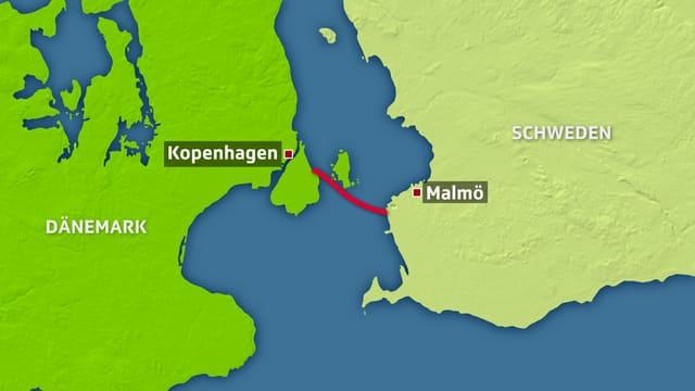 Karte: Die Öresundbrücke