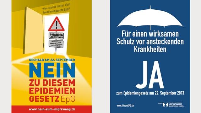 Plakate der Nein- und Ja-Kampagne.