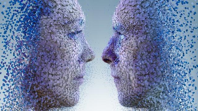 Zwei menschliche Gesichter, zusammengesetzt aus Punkten, blicken sich gegenseitig an
