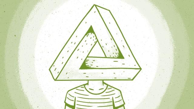 Zeichnung: Eine Figur hat als Kopf ein so genanntes Penrose-Dreieck, eine optische Täuschung.
