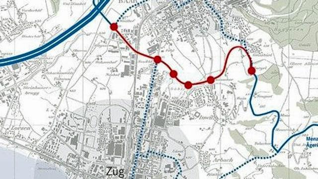 Eine Karte in der die neue Strasse rot eingezeichnet ist.