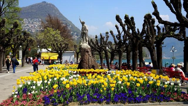 In Lugano hielt der Sommer Einzug. Blühende Blumenbeete.
