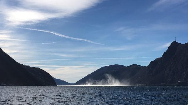 Wasserhose auf dem Lago di Lugano.