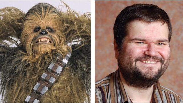 Collage: Chewbacca und lächelnder Typ mit Bart