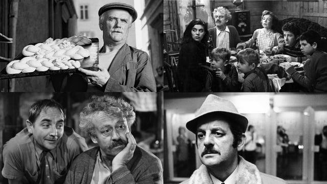 Collage aus vier Filmen von Kurt Früh in Schwarz-Weiss