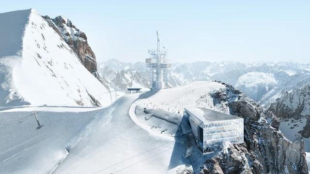 Berggipfel des Titlis mit der geplanten neuen Bergstation.