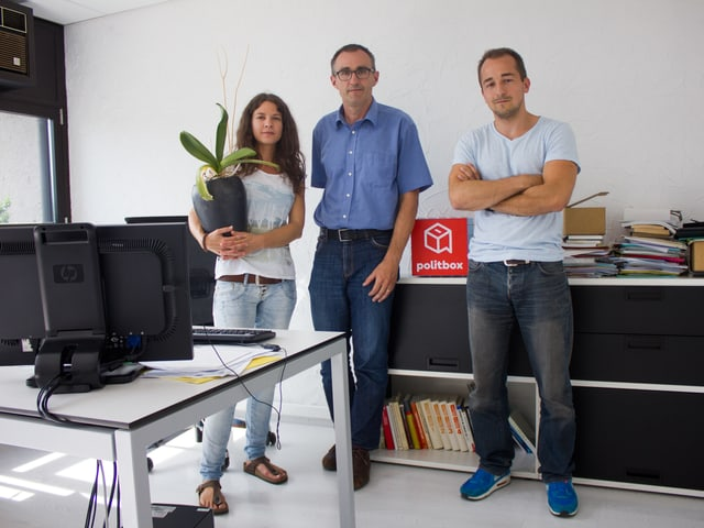 Team SVP (von links): Denise Betschart (Sekretärin/Fraktionsassistentin), Martin Baltisser (Generalsekretär) und Pascal Nussbaum (Wissenschaftlicher Mitarbeiter).