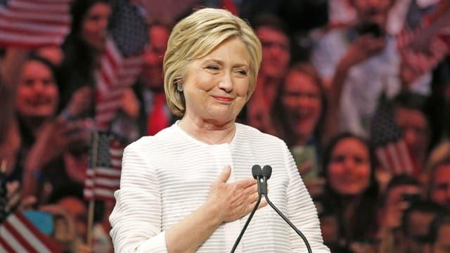 Aufnahme der Präsidentschaftskandidatin der US-Demokraten, Hillary Clinton.