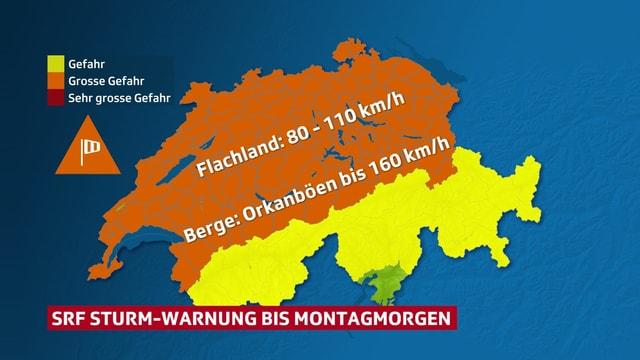 Schweizerkarte, die über weite Teile orange ist, was Windwarnunge Stufe 2/3 bedeutet.