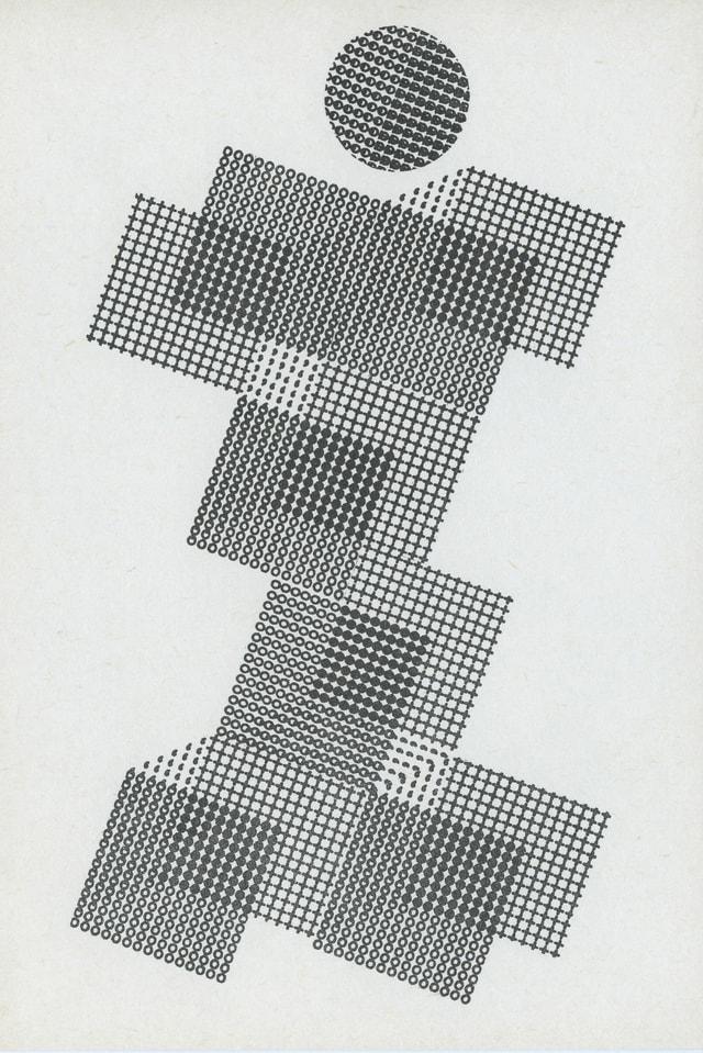 Vierecke und ein Kreis aus mit einer Schreibmaschine getippten Buchstaben