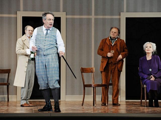 Richard Wagner (Robert Hunger-Bühler, 2.v.l.) trifft auf Gottfried Keller (Siggi Schwientek, ganz links), daneben Gottfried Breitfuss und Elisabeth Trissenaar.