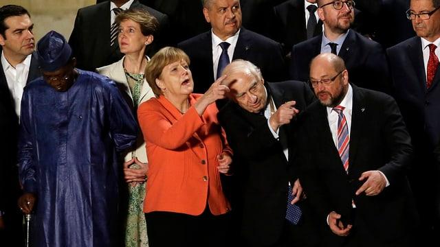 Hauptakteure: Kanzlerin Merkel, UN-Sonderbeauftragter Sutherland und EU-Parlamentspräsident Schulz.