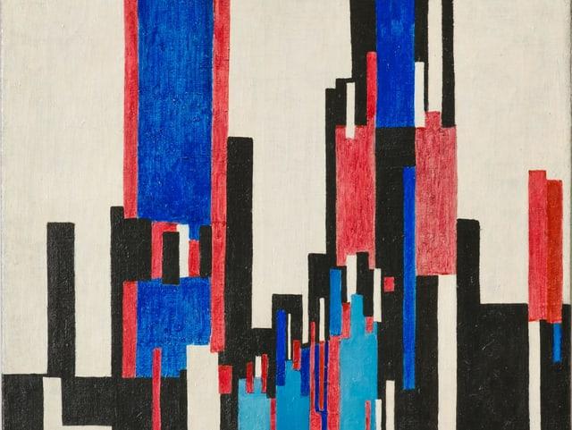 Bild von František Kupka, vertikale Streifen in blau und rot