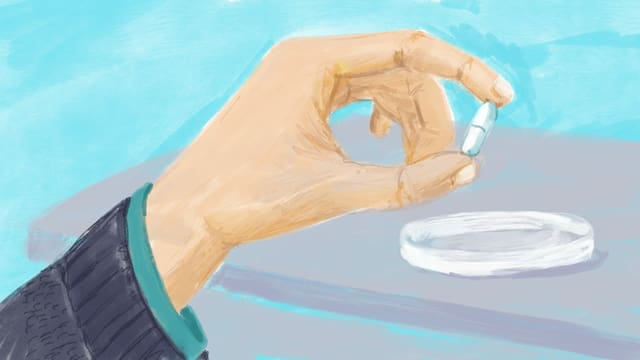 Illustration einre Hand, die eine weisse Pille in den Fingern hält.