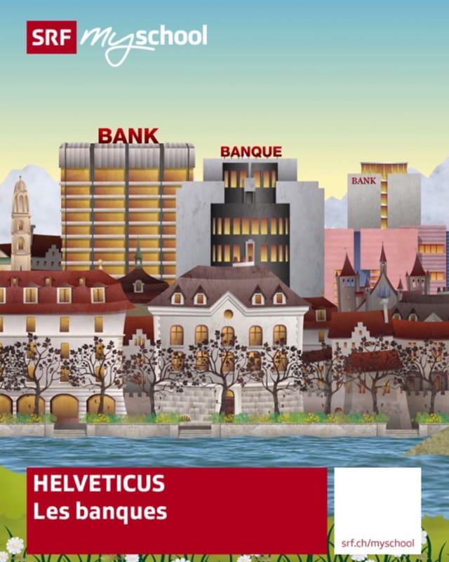Das Titelbild des Ibooks zum Schweizer Bankwesen zeigt eine gezeichnete Stadt mit Banken-Hochhäusern und einem See.