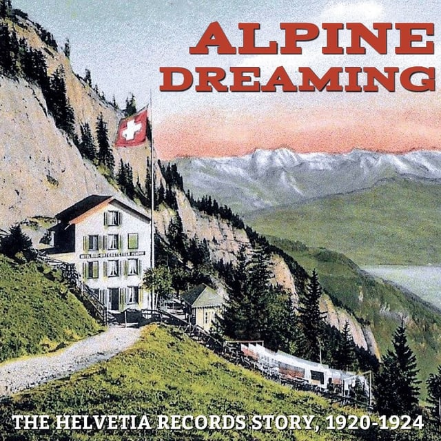 Ein Albumcover mit Bergen und einer Schweizer Flagge