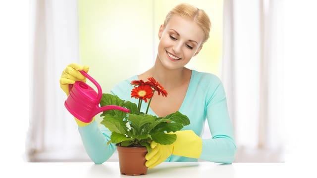 Eine Frau giesst lächelnd einen Topf mit roten Blumen.