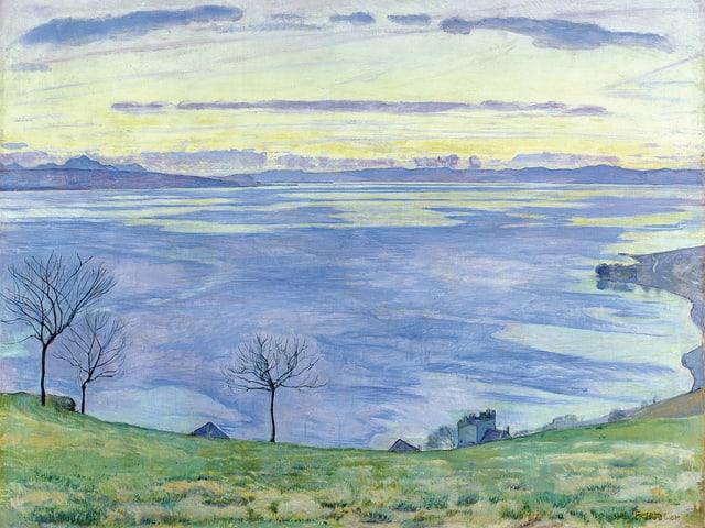 Eine Wiese und ein See. Ein Werk von Hodler.