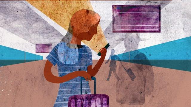 Illustration: Eine Frau schaut in ihr Handy.