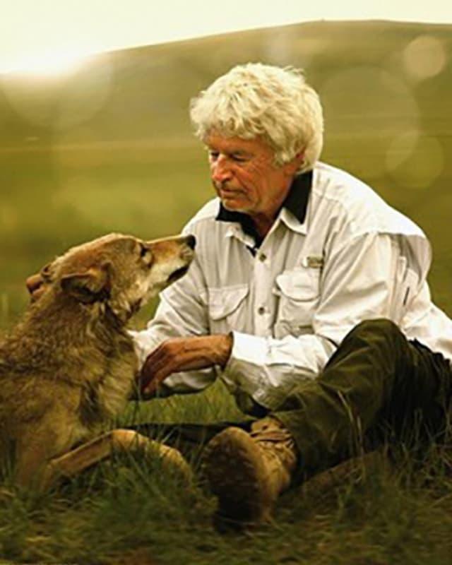 Jean-Jacques Annaud streichelt einen Wolf.