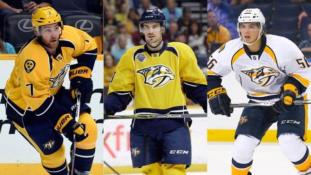 Yannick Weber, Roman Josi und Kevin Fiala auf dem Eis.