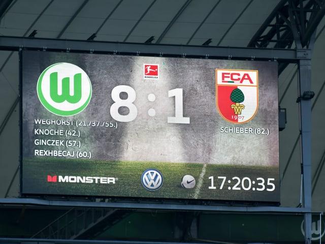 Resultat-Anzeige in Wolfsburg.