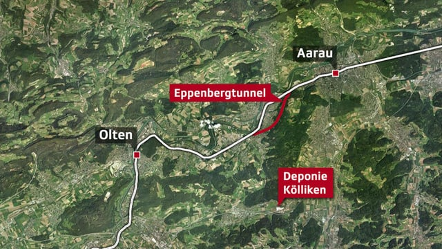 Karte der Lage des Tunnels.