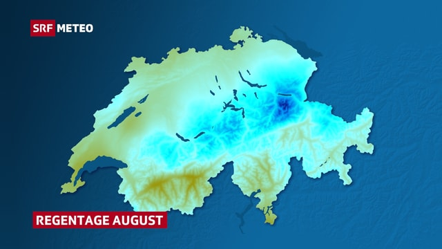 Schweizer Karte mit Verteilung von Regentagen