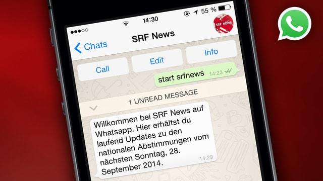SRF liefert neu auch News und Updates via Nachrichten-App Whatsapp.