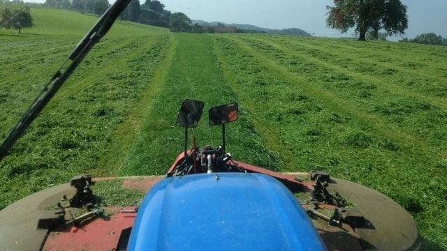 Sicht von einem Traktor auf ein Feld
