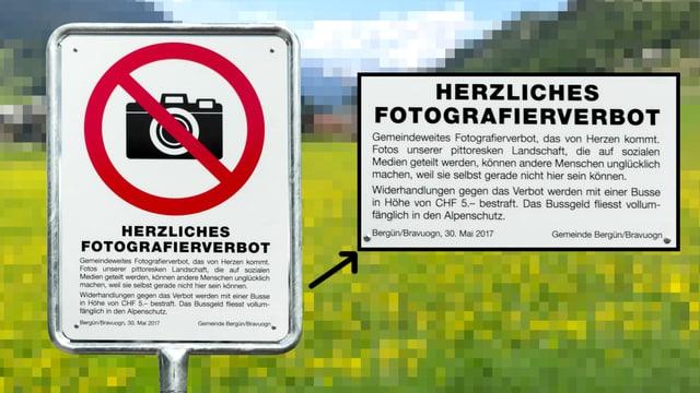 Verbotstafel fürs Fotografieren