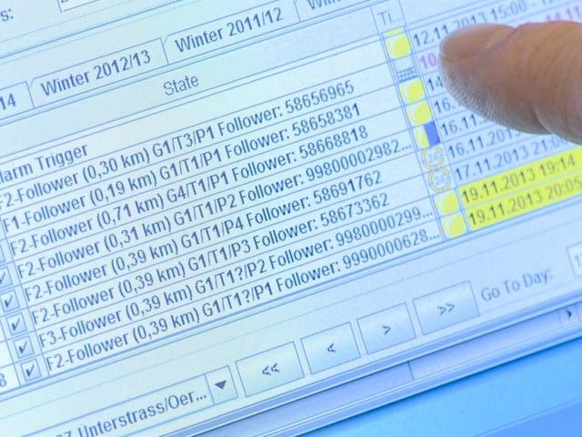 Bildschirmfoto mit Angaben zu Einbrüchen