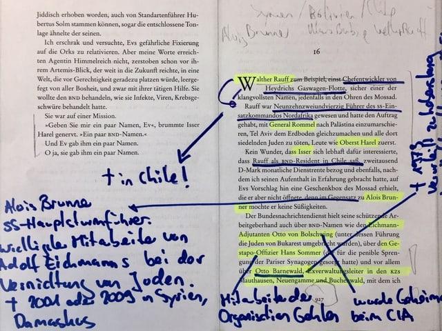 Ausschnitt aus dem Buch «Das kalte Blut» von Chris Kraus mit Notizen von Annette König.