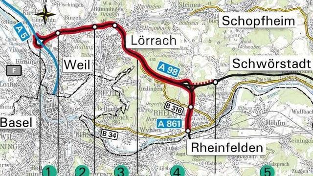 Karte mit der A98