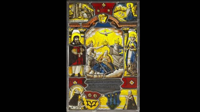 Wappenscheibe mit religiöser Szene