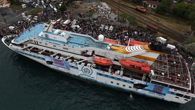 Il bastiment Mavi Marmara ch'era vegnì attatgà il matg 2010 da schuldads israelians.