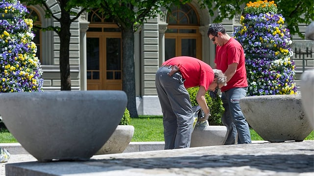 Zwei Gärtner vor dem Bundeshaus.
