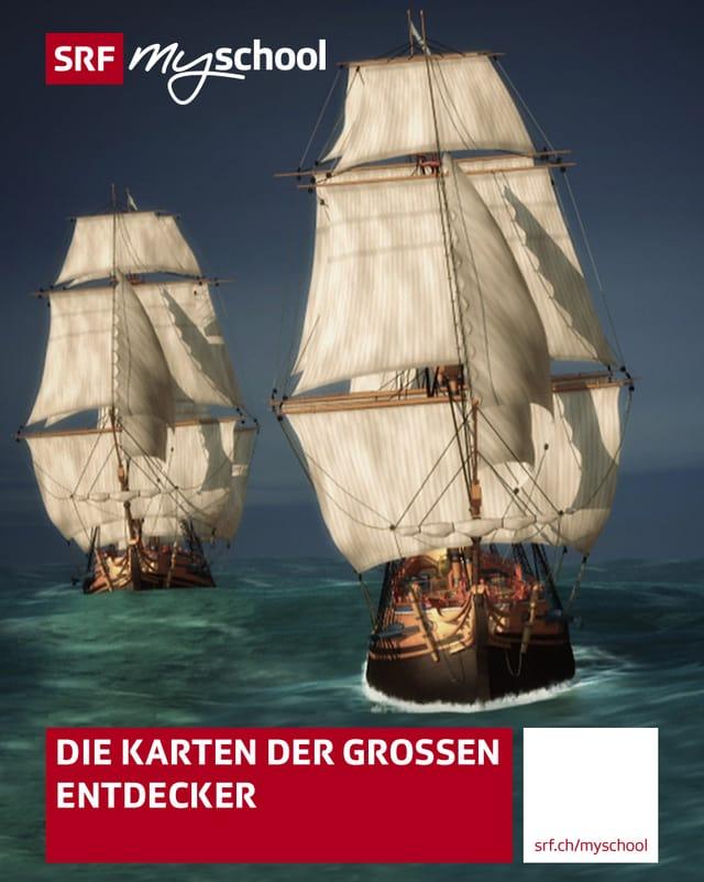 Das Coverbild des iBooks für den Beitrag «Die Karten der Grossen Entdecker» zeigt zwei Schiffe.